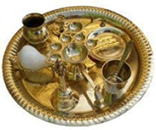 Aarti Set (tray with Bell, Incense Holder, Flower Tray, Conch, Ghee Lamps)