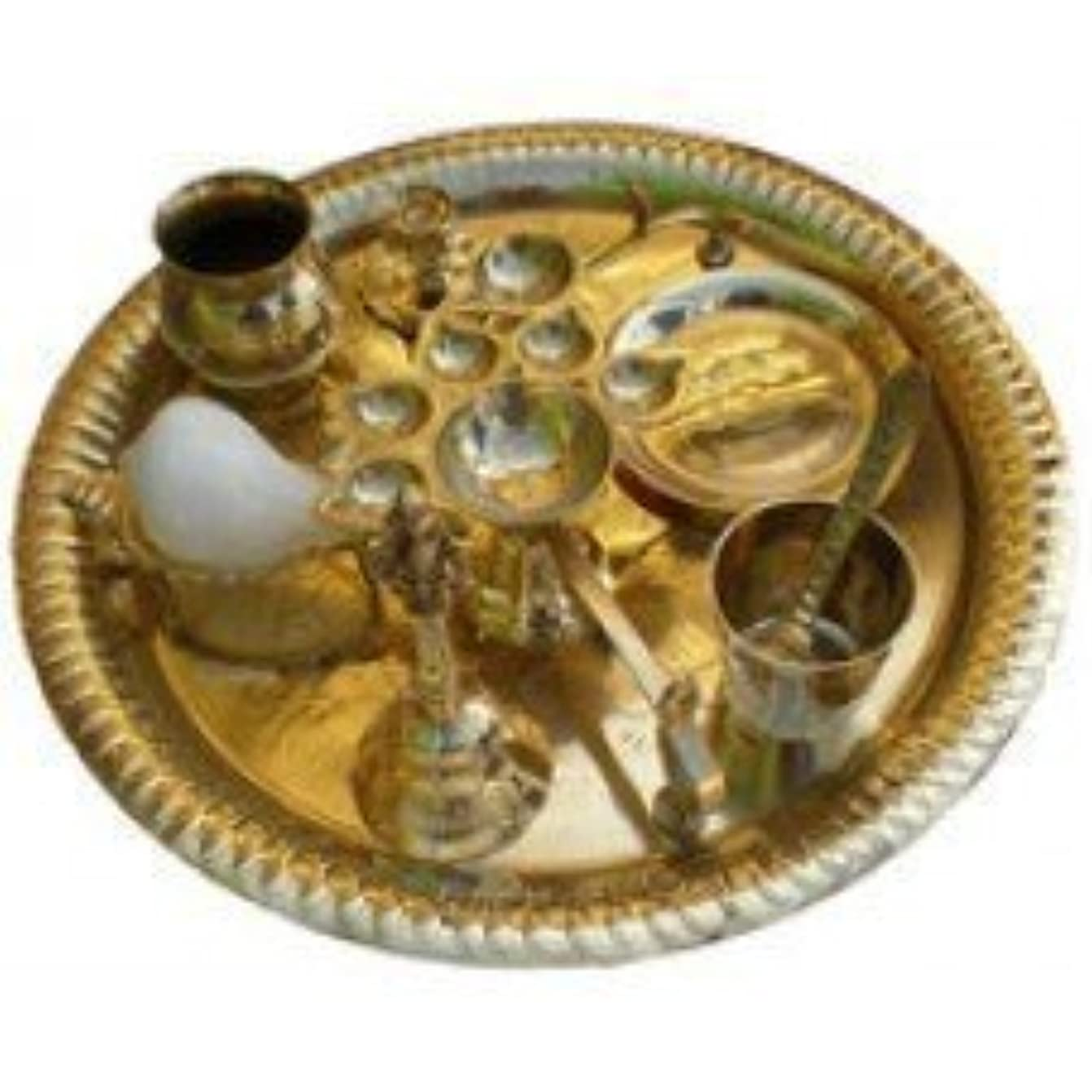 サイトラインジャンクション皮Aarti Set (tray with Bell, Incense Holder, Flower Tray, Conch, Ghee Lamps)