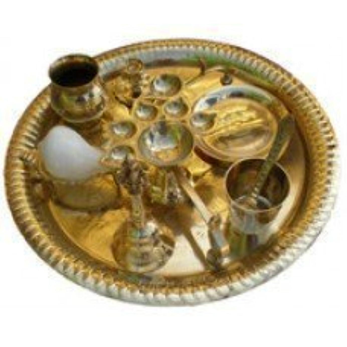 ポーク困惑したあいにくAarti Set (tray with Bell, Incense Holder, Flower Tray, Conch, Ghee Lamps)