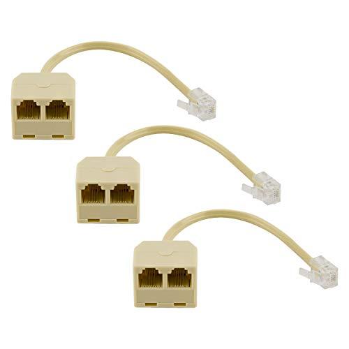 LUTER 3 Piezas Divisores de Teléfono Bidireccionales Macho a Hembra RJ11 6P4C Cable Convertidor de Línea Telefónica