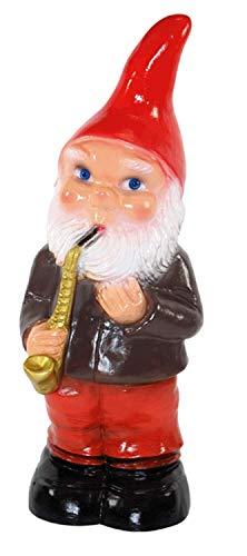 RAKSO Gartenzwerg Deko Garten Figur Zwerg Musiker mit Saxophon stehend aus Kunststoff Höhe 35 cm