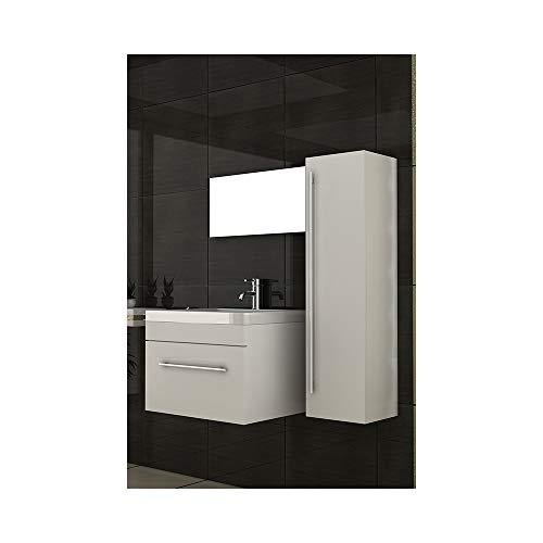 bad1a Badmöbel Set für das Badezimmer in 60x45 cm Weiß Hochglanz, Mineralguss Waschbecken und Unterschrank