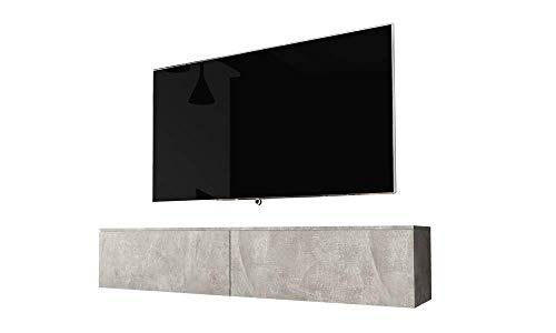 Selsey Kane - Mueble TV Flotante/Mesa TV/Mueble para Salón/Mueble TV Suspendido (180 cm, sin LED, Cemento Gris)