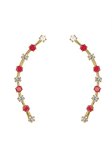 Zivom® Slender Gold Plated American Diamond Ruby Red Ear Cuff Pair For Women Price in India
