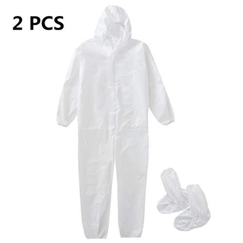 TOPBATHY 2 Stks Beschermende Coverall met Elastische Polsschoenen Cover Isolatie Gown Pak Stofdichte Hooded Kleding Anti-Saliva Werkkleding voor Outdoor dragen (wit)