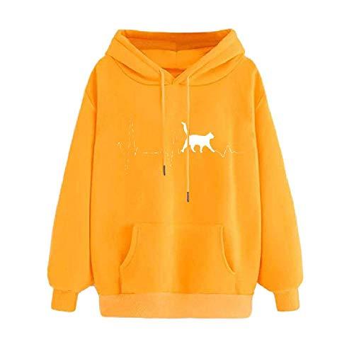 Sudadera con capucha para mujer de otoño y invierno con capucha y manga larga y cómoda impresión sólida suelta