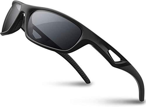 SKILEC Gafas de Sol Hombre Mujer Polarizadas TR90 - Gafas Running, Gafas Ciclismo Hombre Ideales para Deporte, Pesca, MTB, Golf, Bicicleta, etc. Gafas de Sol Deportivas Protección 100% UV400 (Negro)