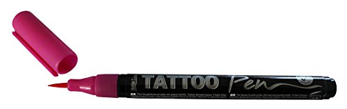 Kreul 62107 - TattooPen, Kosmetiktinte auf Wasserbasis, hält bis zu 5 Tage, dermatologisch getestet, vegan, parabenfrei, auswaschbar ab 30°C aus den meisten Textilien, Strichstärke 0,5 - 3 mm, pink