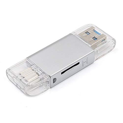 Lector de tarjetas de memoria portátil para Huawei NM - Lector de tarjetas de aleación de zinc para computadora 4 en 1 para interfaz Micro SD/NM/TYP C/USB