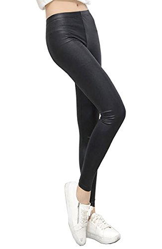 UbdehL Women Faux Leather Korean Fashion Elastic Waist Leggings Pants,(One Size, Black)