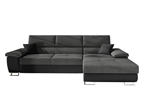 Mirjan24 Ecksofa Cotere Mini LED Beleuchtung mit Fernbedienung, Eckcouch mit Bettkasten und Schlaffunktion, Couch L-Sofa Wohnlandschaft, Polsterecke (Soft 011 + Lux 06 + Soft 011, Seite: Rechts)