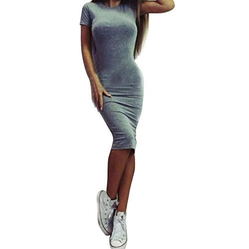 TWBB Kleid Damen, Arbeiten Sie reizvolles festes kurzes Hülsen dünnes Kleid O Ansatz Kleid Kurzschluss Hülsenkleid um (L, Grau)