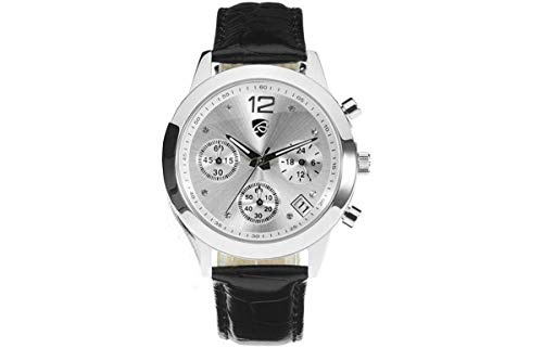 Auriol® Orologio da polso da donna/cronografo–Design elegante–Acciaio Inossidabile di alta qualità con bracciale in pelle (Nero)