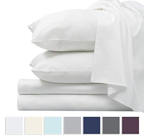 Pizuna 1000 Thread Count Sheet Set, 100% Long Staple Pure Cotton White King Sheets, Luxurious Smooth Sateen Weave Breathable Sheets fit Upto 15 inch Deep Pockets (White King 100% Cotton Sheet Set)
