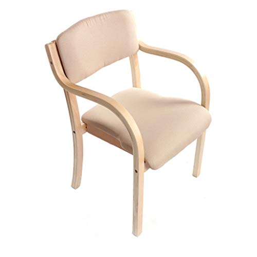 Chaise en Bois européen Chaise de Salle à Manger en Bois Massif Accueil Balcon Bureau Fauteuil Café Siège de l'hôtel/Beige - Paquet de 1