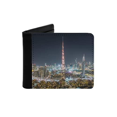 Cartera Delgada de Cuero para Hombre,Timelapse Nocturno del Centro de Dubai con Burj Khalifa y Otras Torres Vista panorámica,Cartera Minimalista con Bolsillo Frontal Plegable