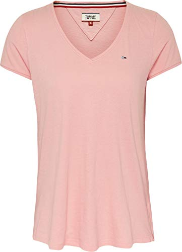 Tommy Hilfiger Tjw Soft Jersey V-Neck tee Ropa Deportiva de Punto, Rosa (Pink Te6), 40 (Talla del Fabricante: Large) para Mujer