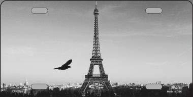 Eiffeltoren - zwart en wit met vogel kentekenplaat nieuwigheid metaal (met plakbriefjes)
