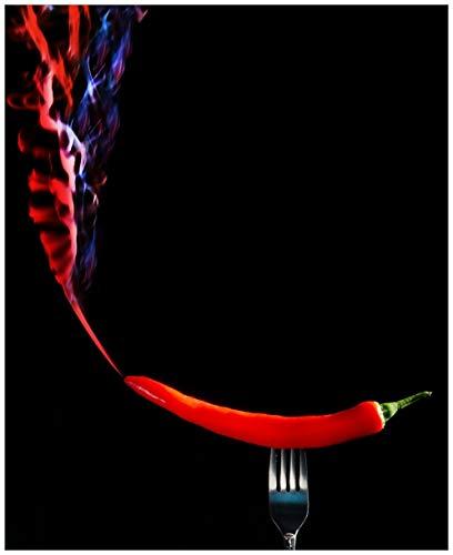 Wallario Sticker/Aufkleber für Kühlschrank/Geschirrspüler/Küchenschränke, Selbstklebende Folie - 65 x 80 cm, Motiv: Rauchende Chili-Schote an Einer Gabel