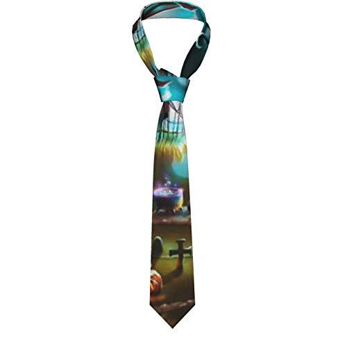 Neuheit Mandala Geometrische Kreative Herren Klassisch Formale Slim Krawatte Casual Gentleman Anzug Krawatten für Hochzeit, Party, Büro, Business Gr. Einheitsgröße, Kürbis Dekor Horror Nacht Friedhof
