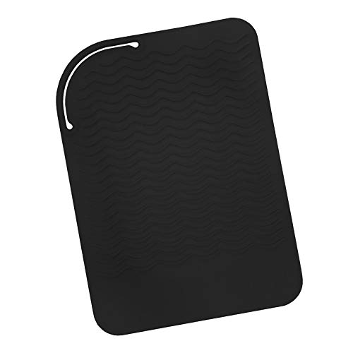 Sygile Silicone Heat Resistant Travel Mat, Anti-heat Pad for Hair Straighteners, Curling Irons, Flat Irons and Other Hot Styling Tools - Black