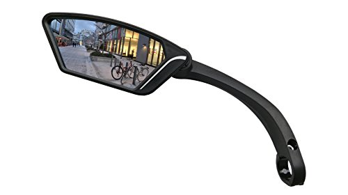 MEACHOW New Scratch Resistant Glass Lens,Handlebar Bike Mirror, Rotatable Safe Rearview Mirror, Bicycle Mirror (Sliver Left Side) ME-002LS