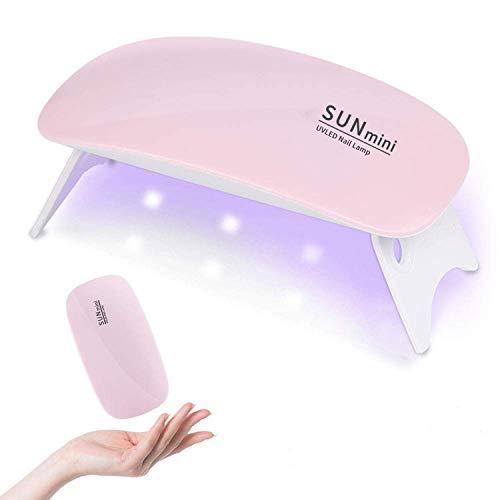 Mini lámpara UV LED para uñas de gel, mini portátil USB para uñas, lámpara de secado de uñas con temporizador de 45/60 s, lámpara de secado de uñas para gel (rosa)
