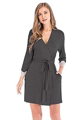 Women's Soft Modal Kimono Robes Lightweight Short Bathrobe Solid Sleepwear Loungewear Pajamas (L, dark gray)