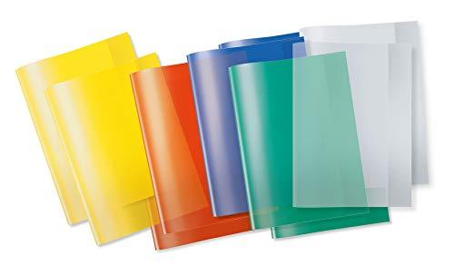 HERMA 19992 Heftumschläge DIN A4 transparent, durchsichtig, Hefthüllen aus strapazierfähiger und abwischbarer Polypropylen-Folie, 10er Set Heftschoner für Schulhefte, bunt