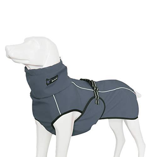 GWELL Hund Hundejacke Wasserdicht Fleece gefüttert Regenjacke Winterjacke Funktion Weste mit D-Ringe Gurt für Mittelgroßen Großen Hund Winter Herbst Frühling Grau M