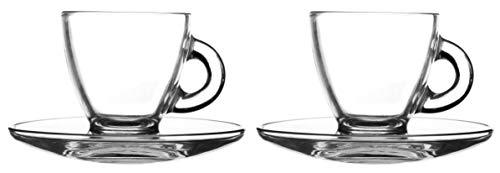 Ravenhead koffiemok met schoteltje, van glas, 80 ml, set van 2