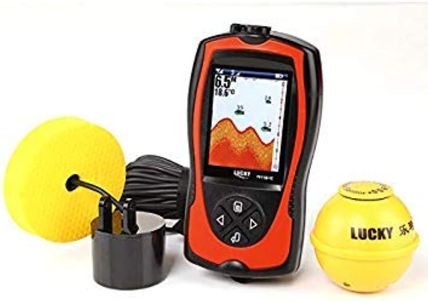 GEOPONICS Lucky FF11081CLA Fish Finder Wireless Wired 2.4  LCD 90degree Fishfinder Light Lure SensorSystem Deeper Fish Finder Alarm