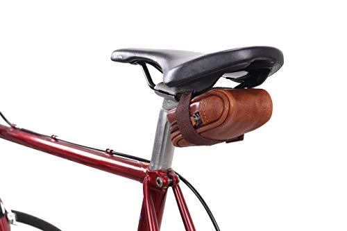 Gusti Satteltasche Leder - UDO B. Schlauchtasche Fahrradtasche für Werkzeug Ledertasche Vintage Braun