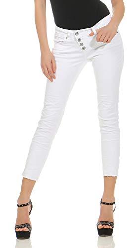 Buena Vista Damen Jeans Malibu Slim Fit Weiss (10) L