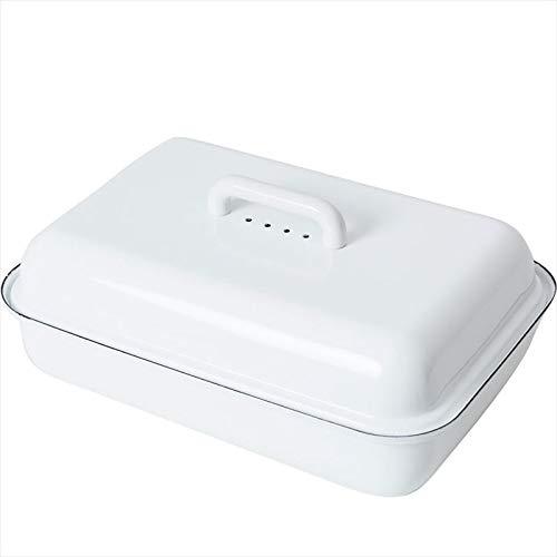 Riess 0616-033 Emaille Brotdose mit Deckel weiß 37/26 cm, Brotkasten