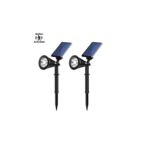Motion Activated LED Solar Lights with Bright/Dim Mode, IP65 Waterproof Landscape Lamp, 2 Pieces