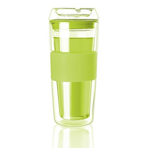 Cicike 2020 Premium Double Walled Glass Coffee Mug, Borosilicate Glass Tumbler with Silicone Sleeve, Glass Mug for Hot Beverages, Hand Blown Glass Travel Mug (Green)