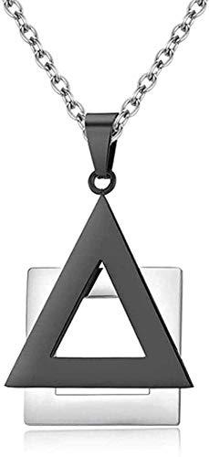 LBBYLFFF Collar Collar Original Geométrico Triangular Cuadrado T Collares de suspensión Cadena de Acero Inoxidable para Hombres Him Punk Charm Joyería Regalos