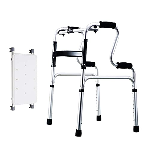 Andador con ruedas para ancianos, andador, silla de ducha con almohadilla extraíble, andador bariátrico plegable, bastidor de Zimmer para caminar, reposabrazos de aluminio, soporte de bastón de altura