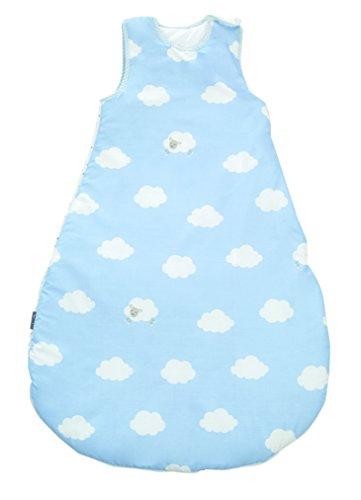 roba Schlafsack, 90cm, Babyschlafsack ganzjahres/ganzjährig, aus atmungsaktiver Baumwolle, Baby- und Kleinkindschlafsack unisex, Kollektion 'Kleine Wolke blau'