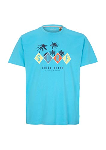 s.Oliver Big Size Herren 131.10.005.12.130.2052181 T-Shirt, Aqua surf Print, 3XL