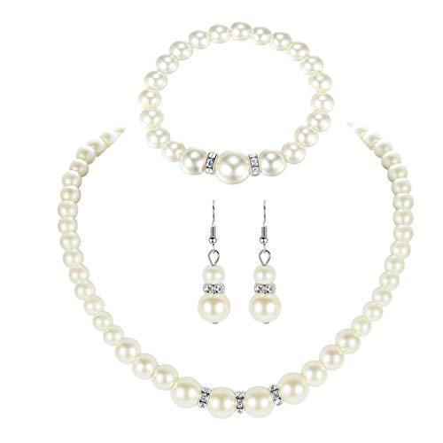 Incdnn Elegante collar de perlas de imitación blancas, pendientes y pulsera, collar de perlas, pendientes, bisutería para mujeres, pulsera personalizada