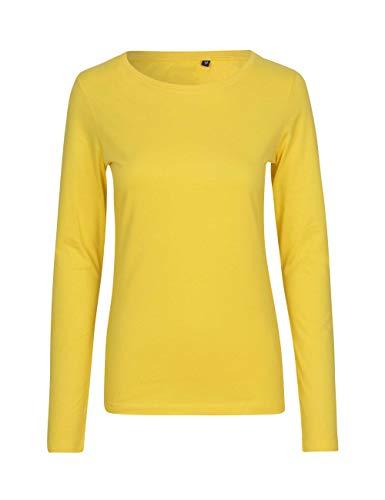Green Cat - Camiseta de manga larga para mujer, 100% algodón orgánico. Certificado Fairtrade, Oeko-Tex y Ecolabel amarillo XL