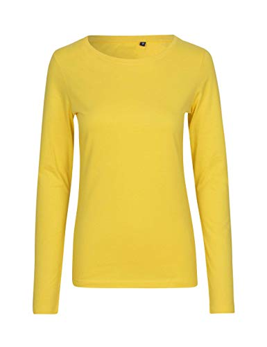 Green Cat - Camiseta de manga larga para mujer, 100% algodón orgánico. Certificado Fairtrade, Oeko-Tex y Ecolabel amarillo XL