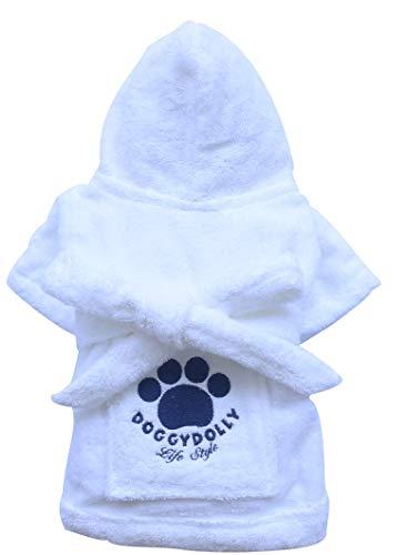 Doggydolly MOPS&CO FP-DRF001 Bademantel für Hunde weiß (FP-XL - Brust 71-73cm Rücken 39-40cm)