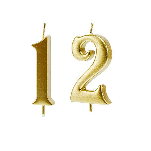 Mart 12th Birthday Candles,Gold Number 12 Cake Topper for Birthday Decorations