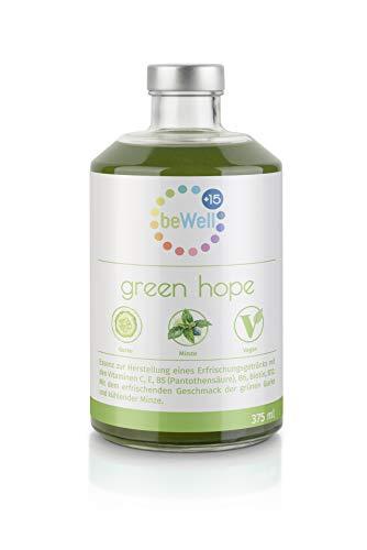 BeWell Fruchtsirup Green-Hope - Multivitamin-Getränk mit Gurke Limette und Minze - sommerlich erfrischender Geschmack - 375ml, reicht für ca. 4 Liter Fertiggetränk (Mischverhältnis 1:9)