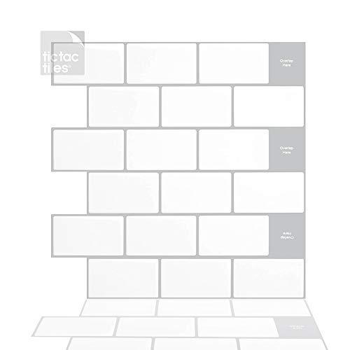 Tic Tac Tiles 30 cm x 30 cm 10 Láminas, 3D Azulejos Adhesivo Metro Azulejos de la pared para Cocina y Baño - ladrillo azulejos mosaico (Mono Blanco borde gris)