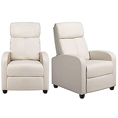 Yaheetech Padded Seat Recliner Chair Set of 2 Single Sofa Recliner for Living Room Home Theater Seating PU Leather Upholstered Reclining Chair