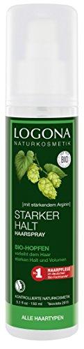 LOGONA Naturkosmetik Haarspray Bio-Hopfen, Zum Stylen für alle Haartypen geeignet, Gibt natürliches Volumen & langanhaltenden Halt, Vegan, 150ml